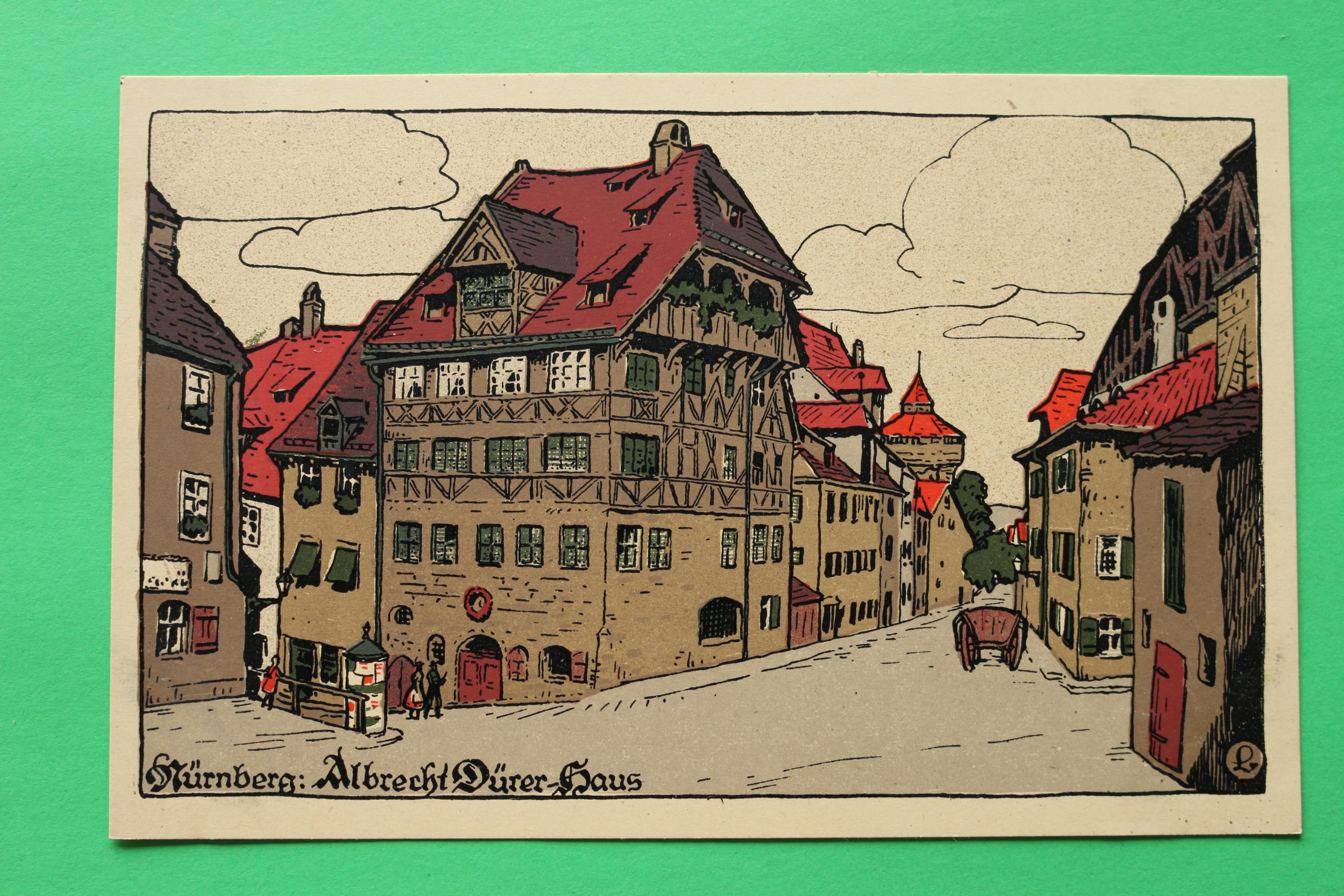 AK Nürnberg / 1910-1920 / Litho / Albrecht Dürer Haus / Künstler Stein  Zeichnung / Straßenansicht Litfaßsäule